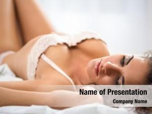 Lying woman ecstasy underwear bed