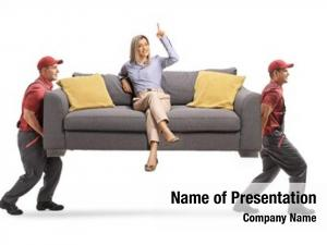 Sofa woman sitting pointing while