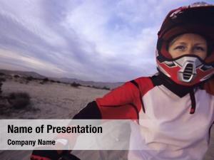 Racer female motocross her motorcycle