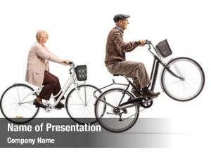 Lifting elderly man bicycle one