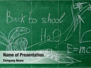 Blackboard green chalk written back