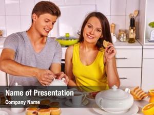 Breakfast happy couple kitchen