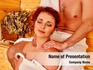 Woman couple man relaxing sauna
