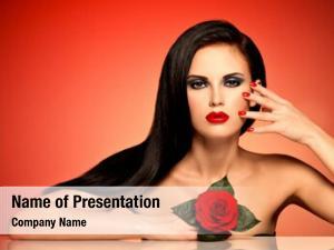 Woman portrait beautiful red lips,