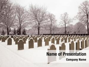 Winter military cemetery graves snow