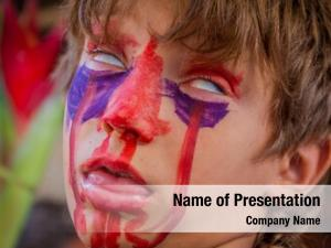 Boy young kid painted face,