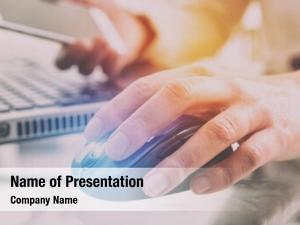 Hand on computer powerpoint template