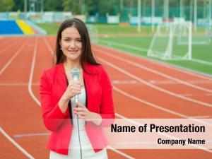 Reporter young girl broadcasting stadium