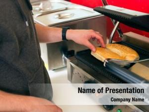 Salesman hotdog friendly fresh ingredients