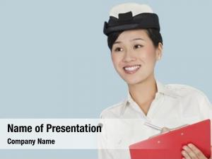 Navy happy female officer clipboard