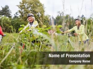 Cycling group seniors nature bike