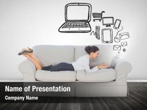 Sofa businesswoman lying using her