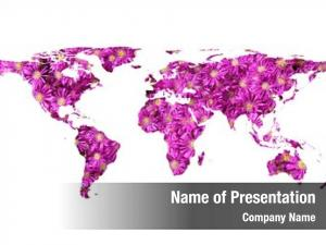 Map flat world flowers