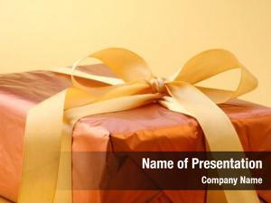 Gift golden wrapped satin ribbon