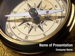 Compass antique brass over old