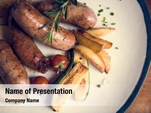 Food sausages plate photography idea