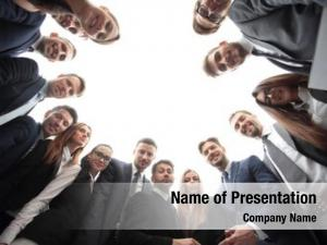 Standing business team forming circle