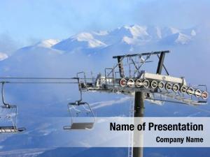 Ski chairlift winter resort against