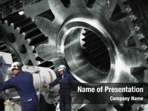 Machinery, engineers, workers large cogwheels