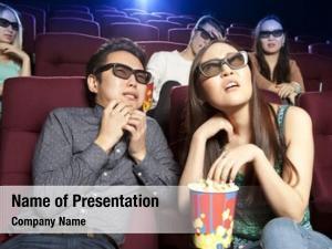Cinema, couple sitting watching horrors