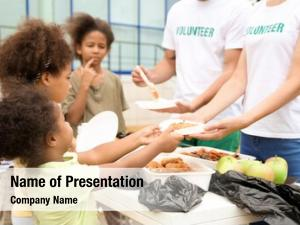 Food volunteers sharing poor african