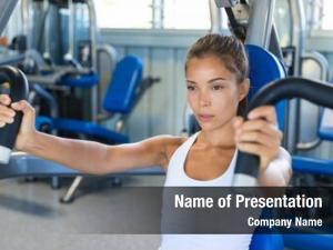 Asian gym workout woman focused