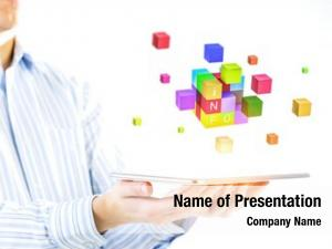 Tabalet businesswoman holding cube puzzle