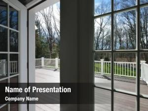 View garden deck through window