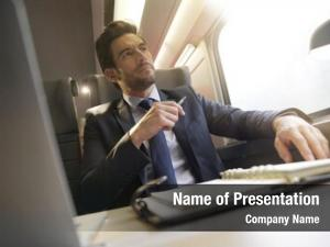 Train businessman working business class