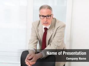 Businessman unexpected portrait his office
