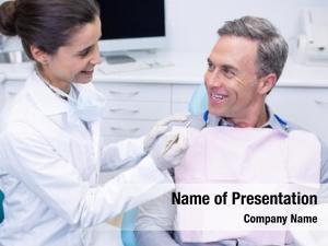 Diagnostic medical tool happy dentist holding