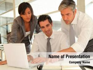 Having sales team business presentation