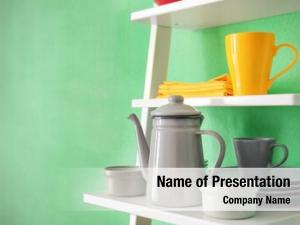 White shelving powerpoint template