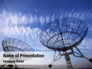 Antenna satellite dishes blue sky