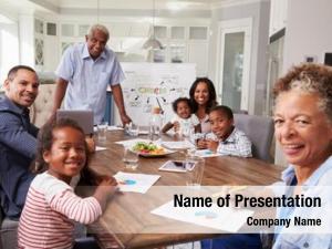 Home grandad presenting meeting, family