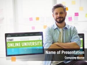 Interface online university against portrait