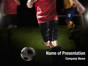 Kicking soccer player soccer ball