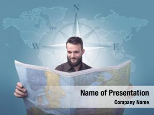 Man handsome young holding map
