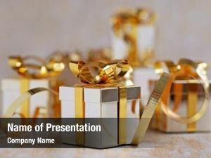 Gold miniature silver gift box