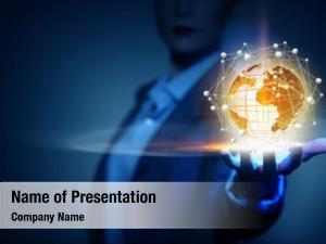 Global businesswoman presenting technologies