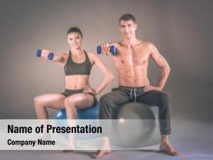 People two smiling fitness ball
