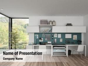 Workstations in furnished powerpoint template
