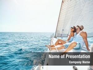 Woman young man relaxing yacht