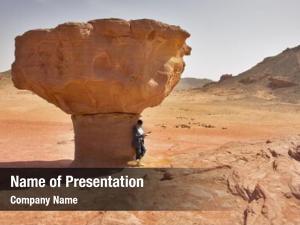 Desert woman tourist red near huge