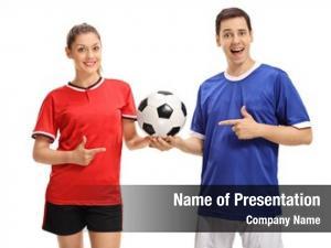 Sportswear female footballer and a male