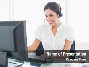 Center cheerful call agent working