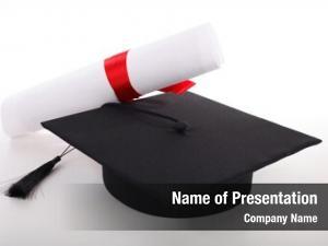 Diploma graduation cap white