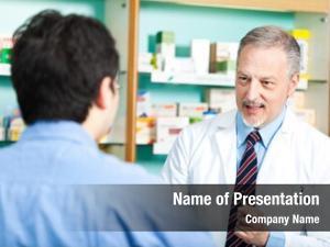Dealing senior pharmacist customer