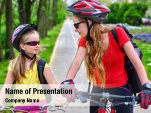 Bicycle girls wearing helmet rucksack
