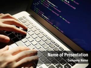 Laptop, hacker using closeup